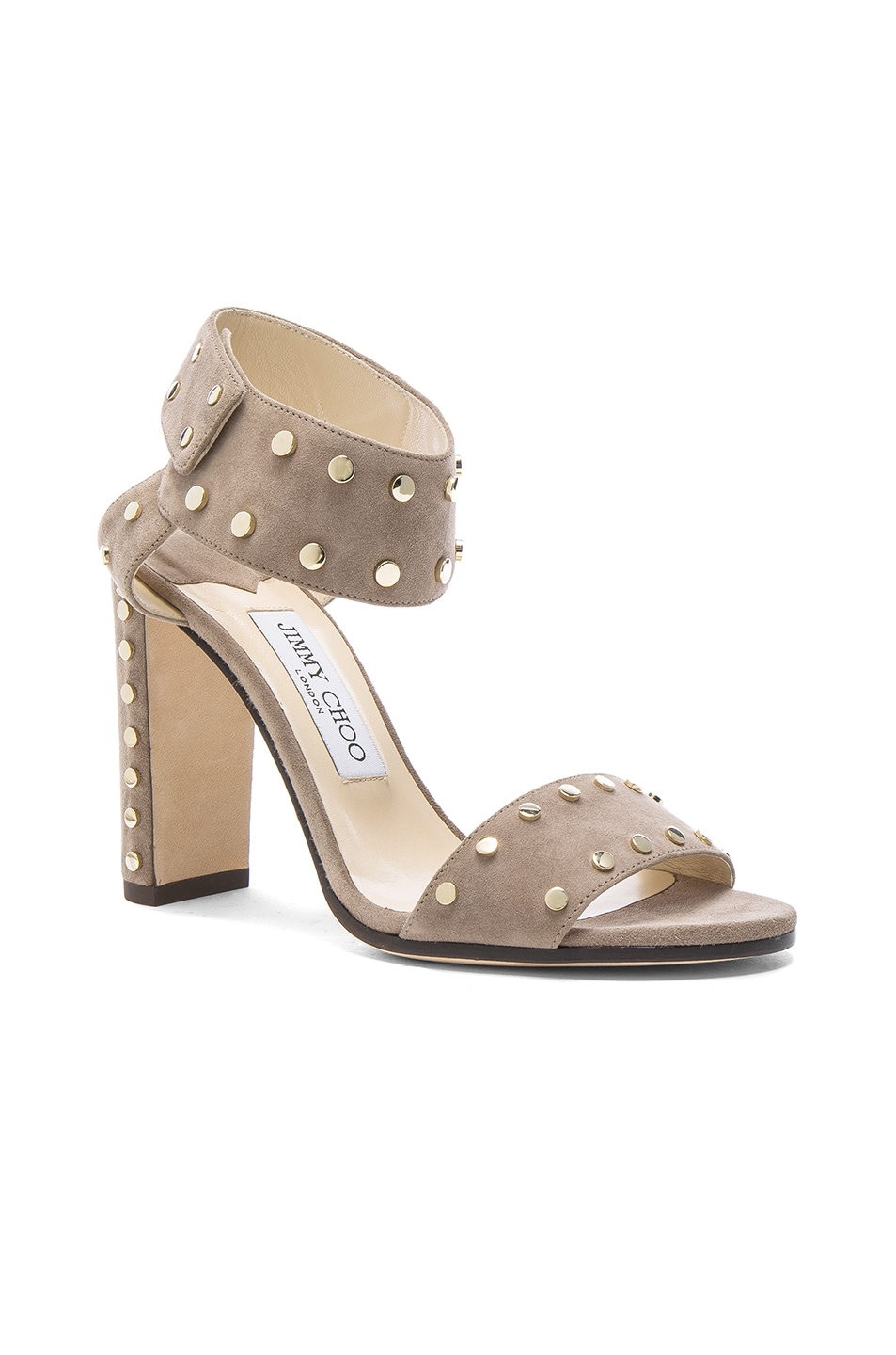 JIMMY CHOO Veto Heel in Light Mocha & Gold