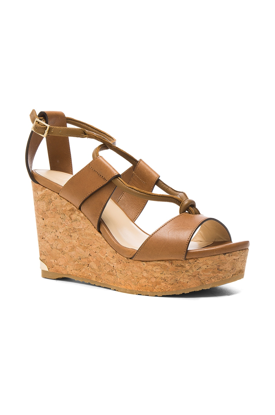 Image 2 of Jimmy Choo Leather Nelson Wedges in Tan