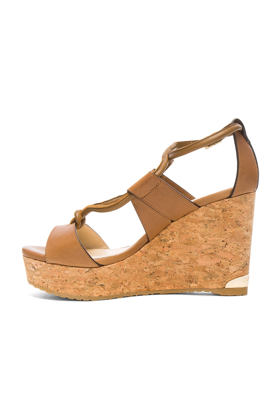 Image 5 of Jimmy Choo Leather Nelson Wedges in Tan