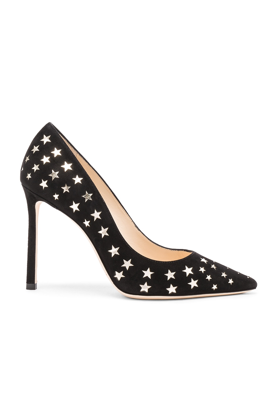 Image 1 of Jimmy Choo Suede Romy Heels in Black & Gold