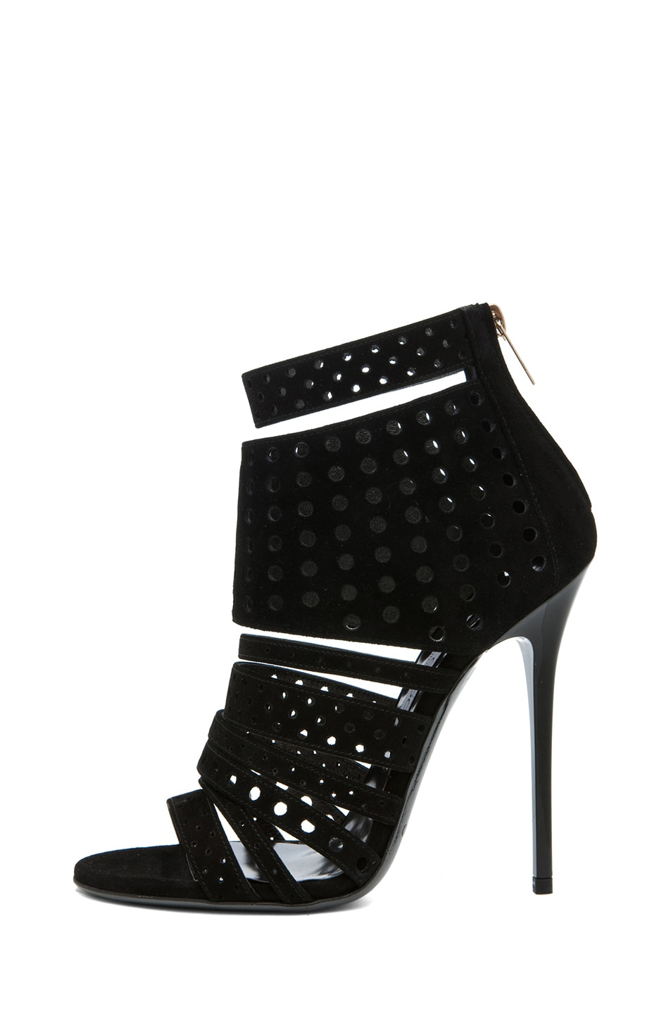 Image 1 of Jimmy Choo Malika Suede Perforated Bootie in Black