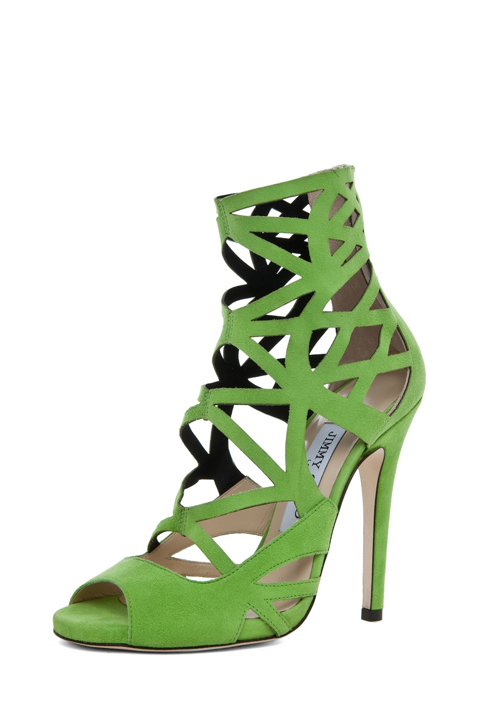 Image 2 of Jimmy Choo Viva Suede Cut Out Booties in Lime