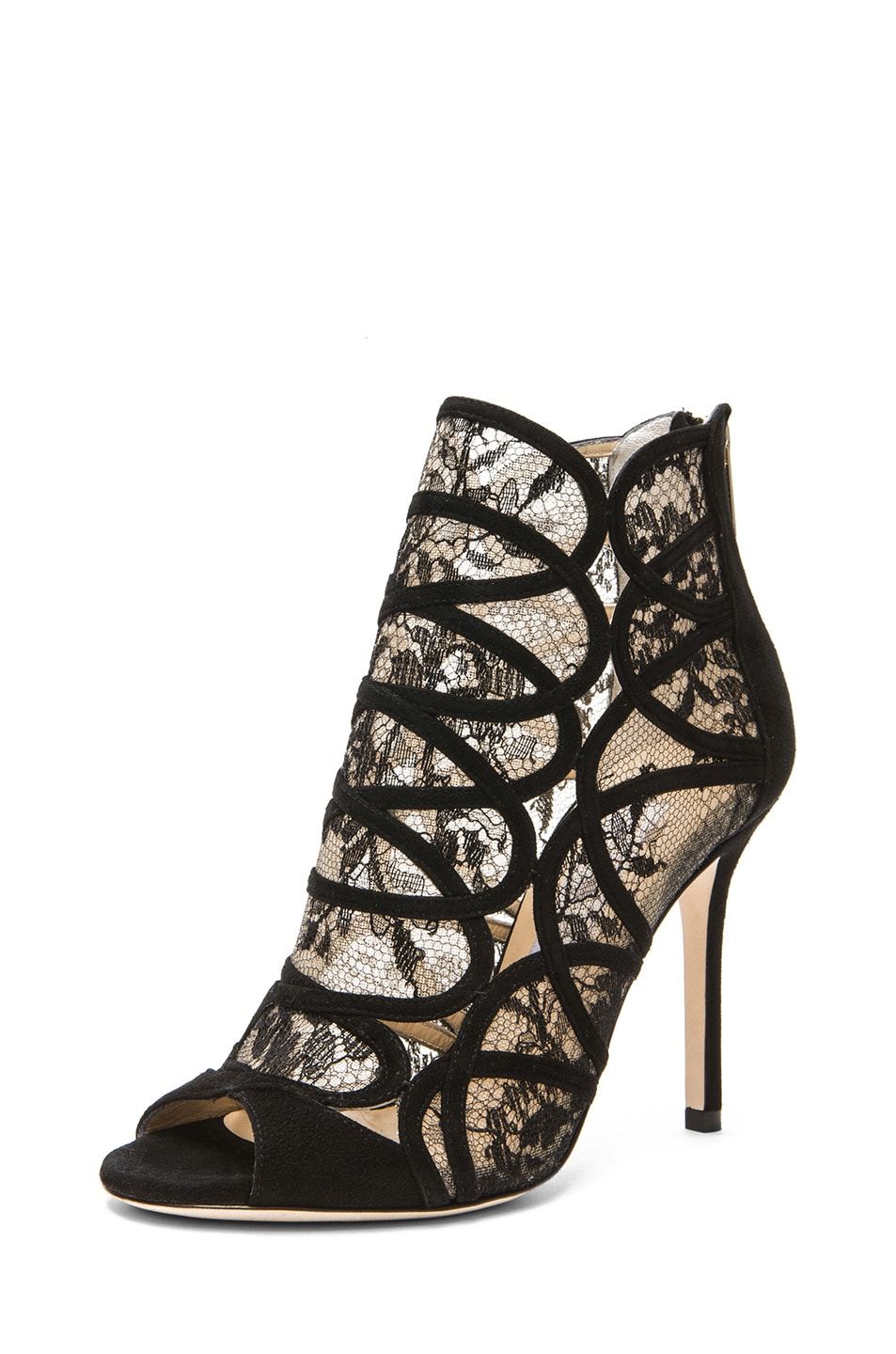 Image 2 of Jimmy Choo Fauna Suede Lace Booties in Black