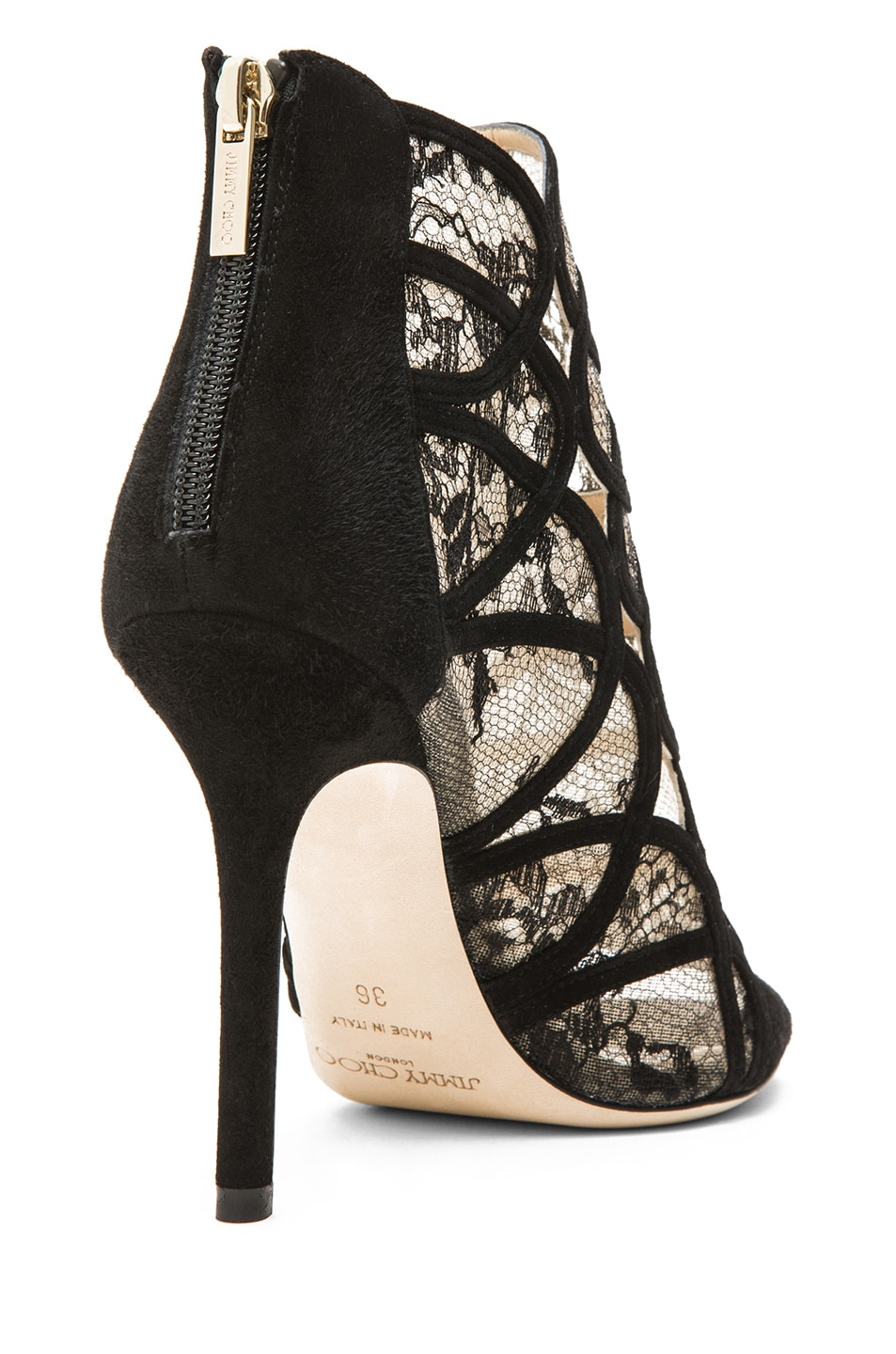 Image 3 of Jimmy Choo Fauna Suede Lace Booties in Black