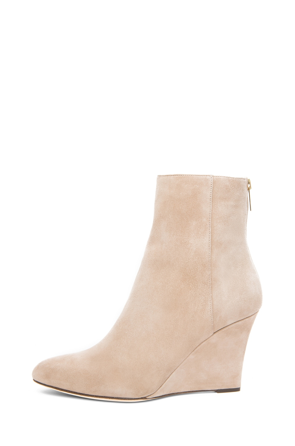 Image 1 of Jimmy Choo Mayor Suede 85mm Wedge Ankle Boots in Latte