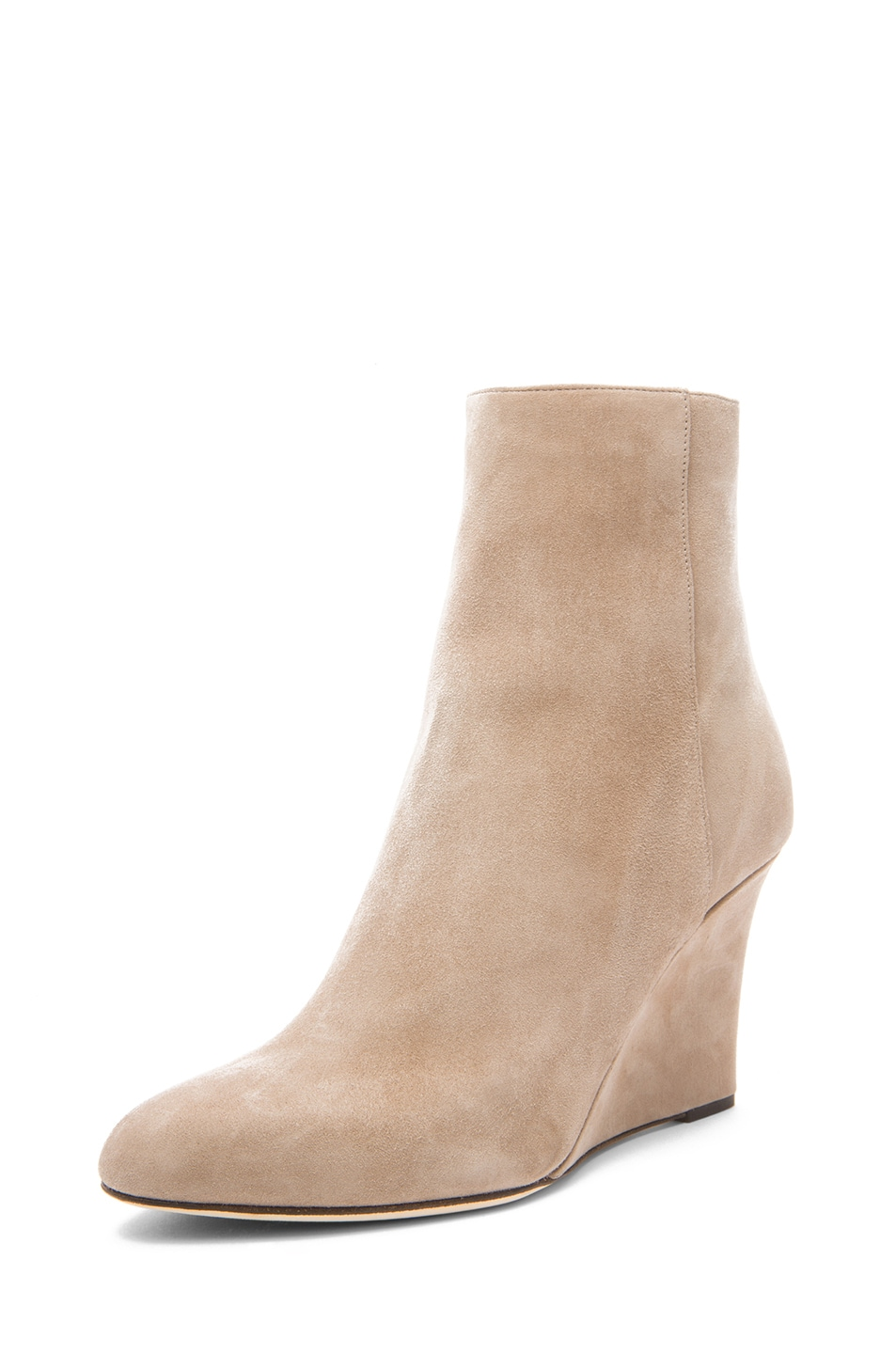 Image 2 of Jimmy Choo Mayor Suede 85mm Wedge Ankle Boots in Latte