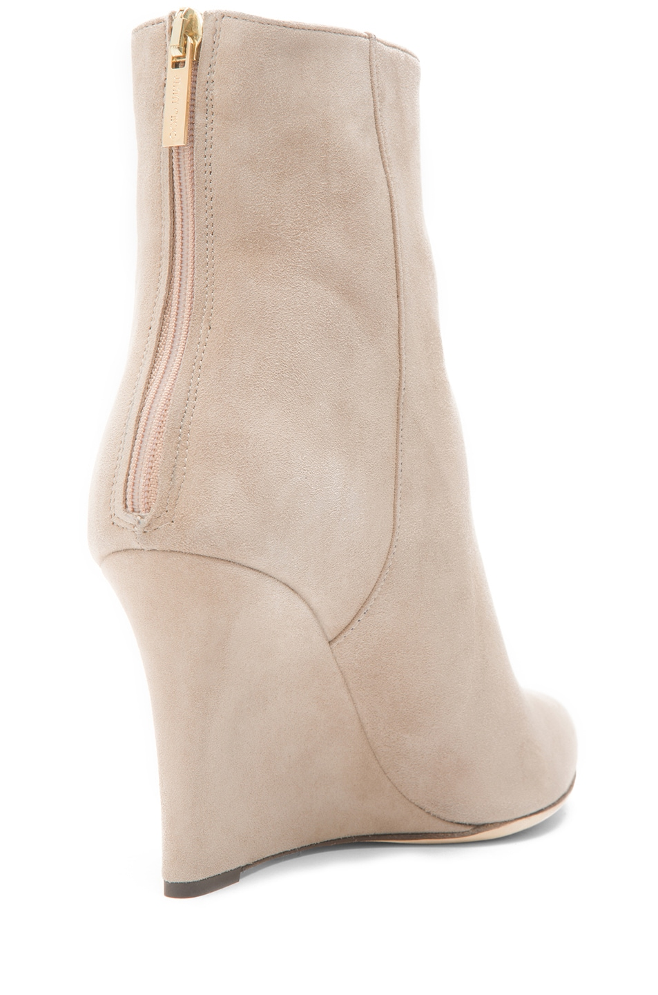 Image 3 of Jimmy Choo Mayor Suede 85mm Wedge Ankle Boots in Latte