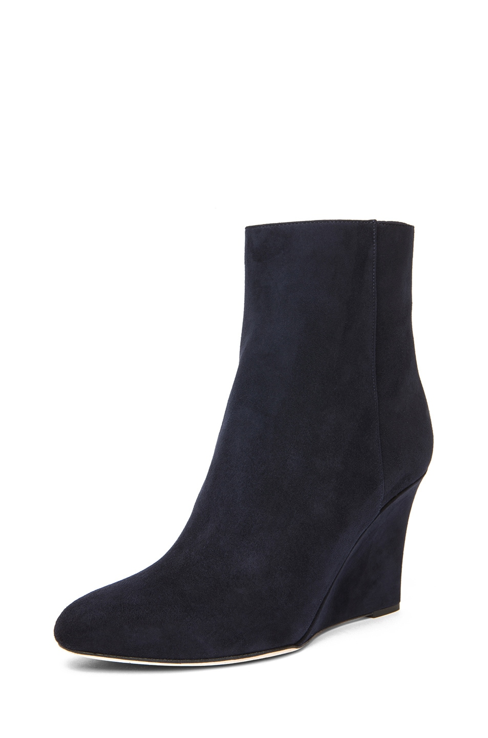 Image 2 of Jimmy Choo Mayor Suede 85mm Wedge Ankle Boot in Navy