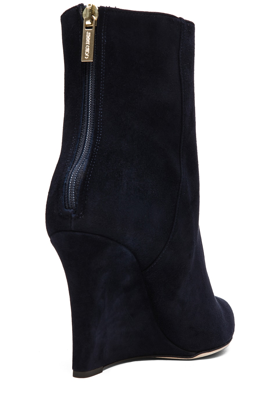 Image 3 of Jimmy Choo Mayor Suede 85mm Wedge Ankle Boot in Navy