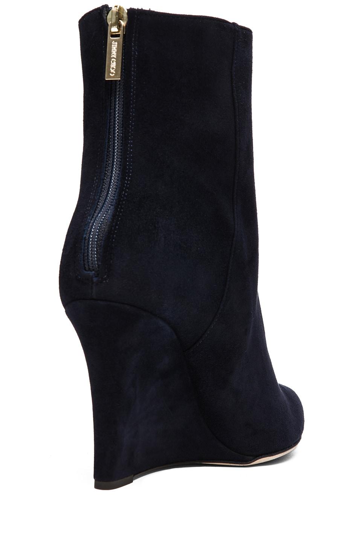 Image 3 of Jimmy Choo Mayor Suede 85mm Wedge Ankle Boot in Navy