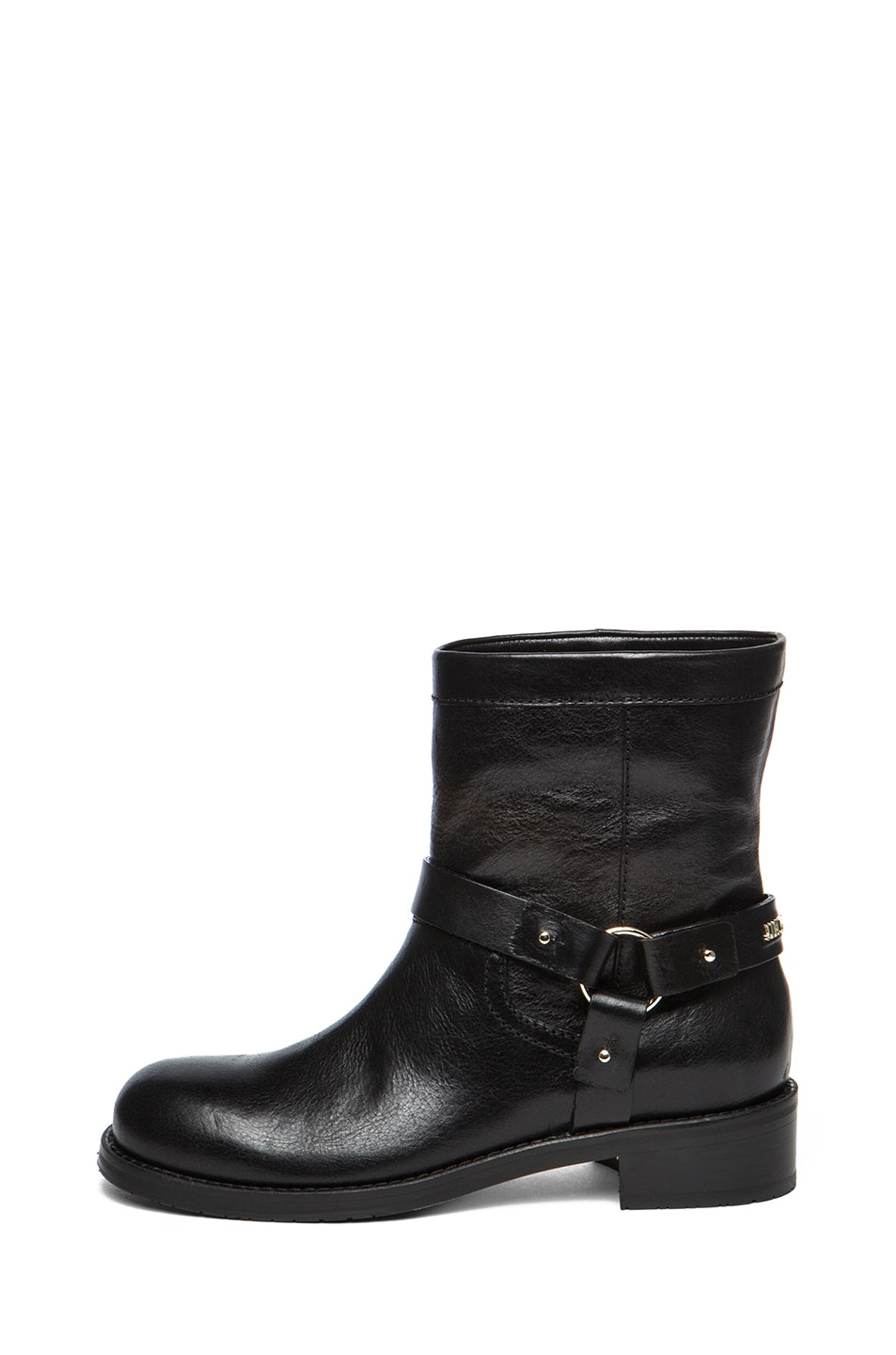 Image 1 of Jimmy Choo Dixie Shiny Calfskin Leather Flat Ankle Boot in Black