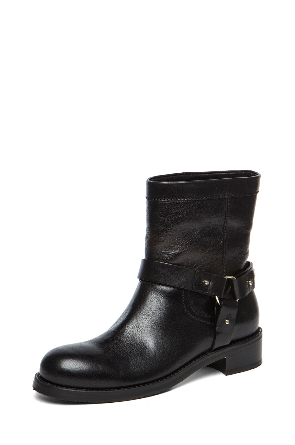 Image 2 of Jimmy Choo Dixie Shiny Calfskin Leather Flat Ankle Boot in Black