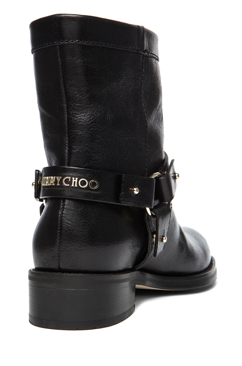 Image 3 of Jimmy Choo Dixie Shiny Calfskin Leather Flat Ankle Boot in Black