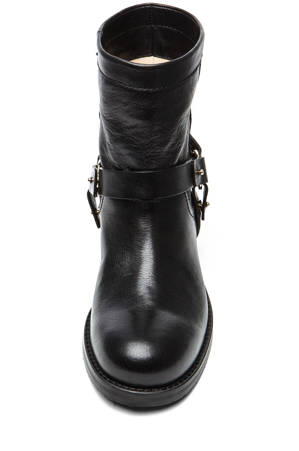 Image 4 of Jimmy Choo Dixie Shiny Calfskin Leather Flat Ankle Boot in Black