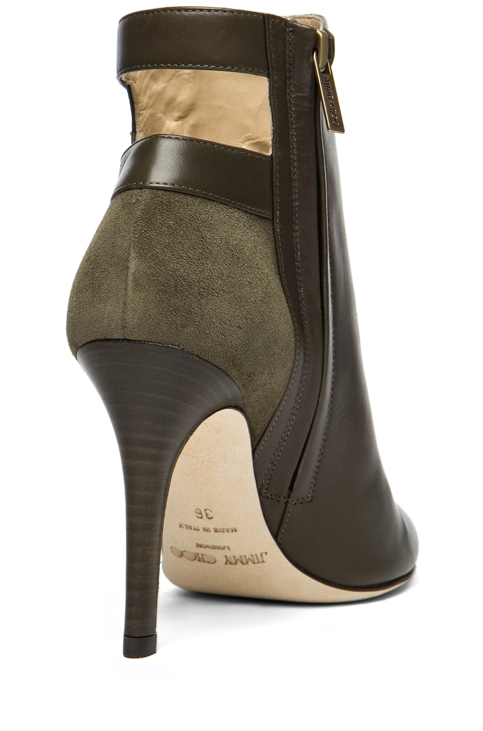 Image 3 of Jimmy Choo Troop Leather Booties in Military