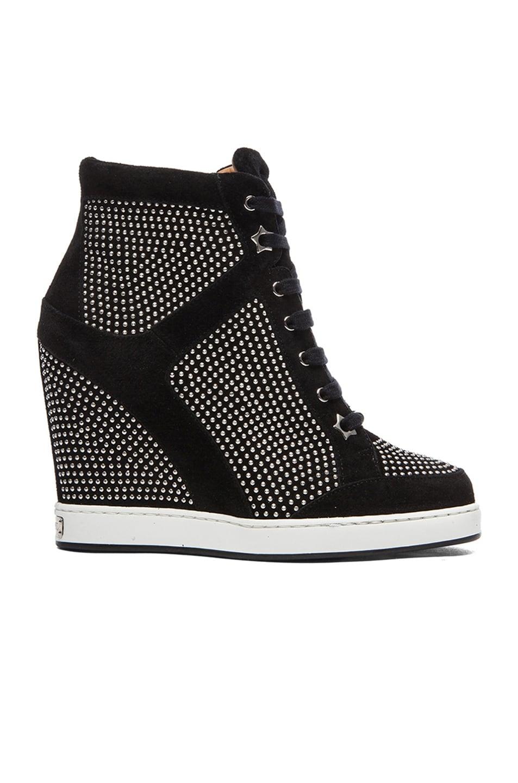 Image 1 of Jimmy Choo Panama Suede Wedge Sneakers in Black & Silver