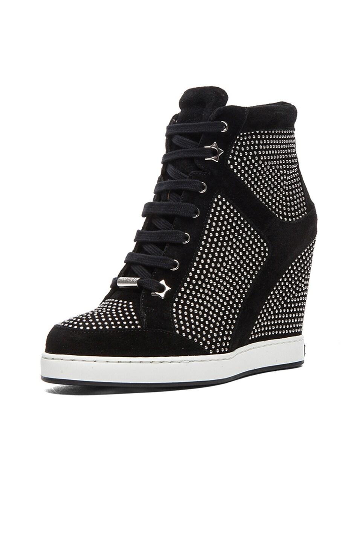 Image 2 of Jimmy Choo Panama Suede Wedge Sneakers in Black & Silver