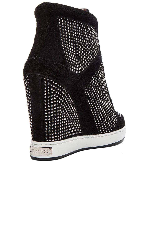 Image 3 of Jimmy Choo Panama Suede Wedge Sneakers in Black & Silver