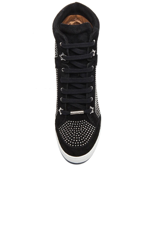 Image 4 of Jimmy Choo Panama Suede Wedge Sneakers in Black & Silver