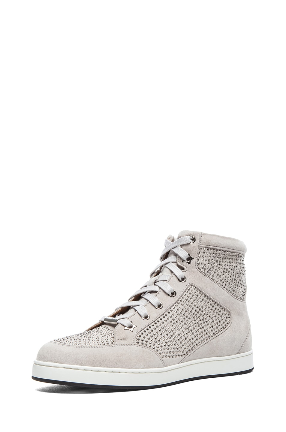 Image 2 of Jimmy Choo Tokyo High Top Suede Trainers in Silver