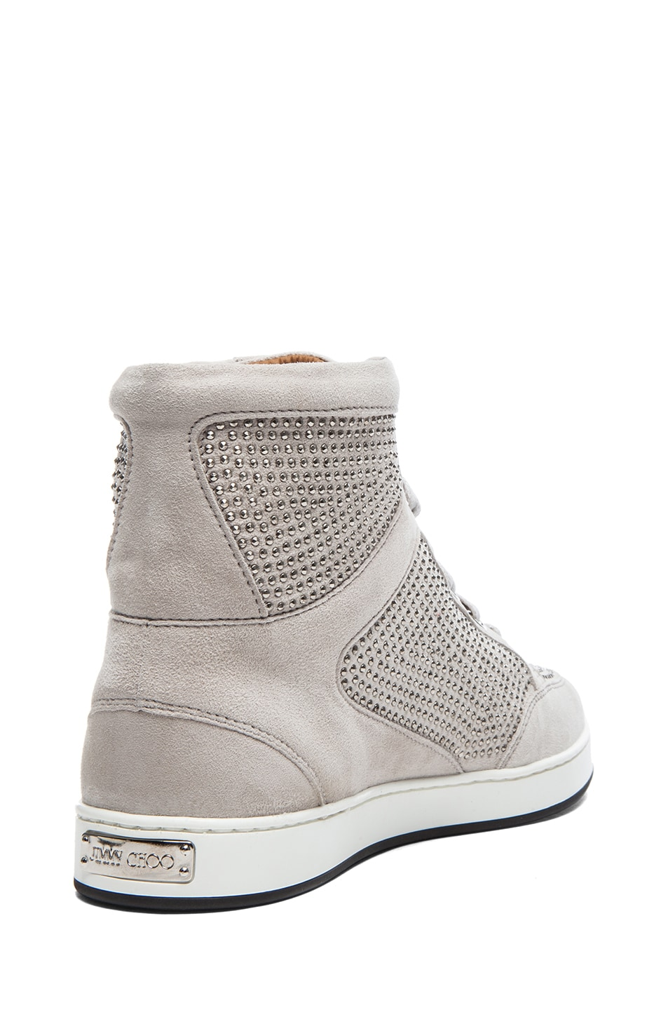 Image 3 of Jimmy Choo Tokyo High Top Suede Trainers in Silver