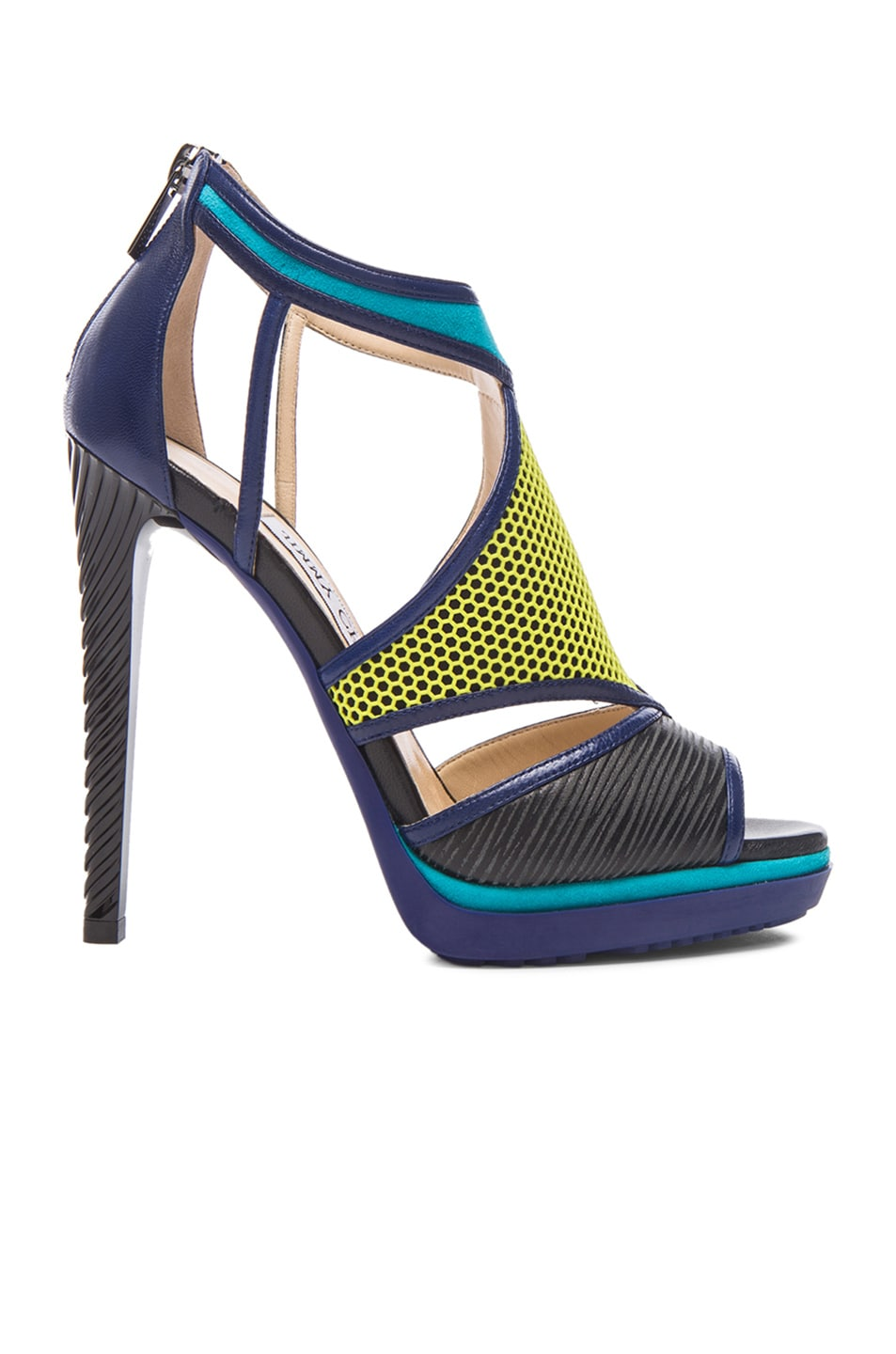 Image 1 of Jimmy Choo Lythe Leather Heels in Acid Yellow, Black & Turquoise
