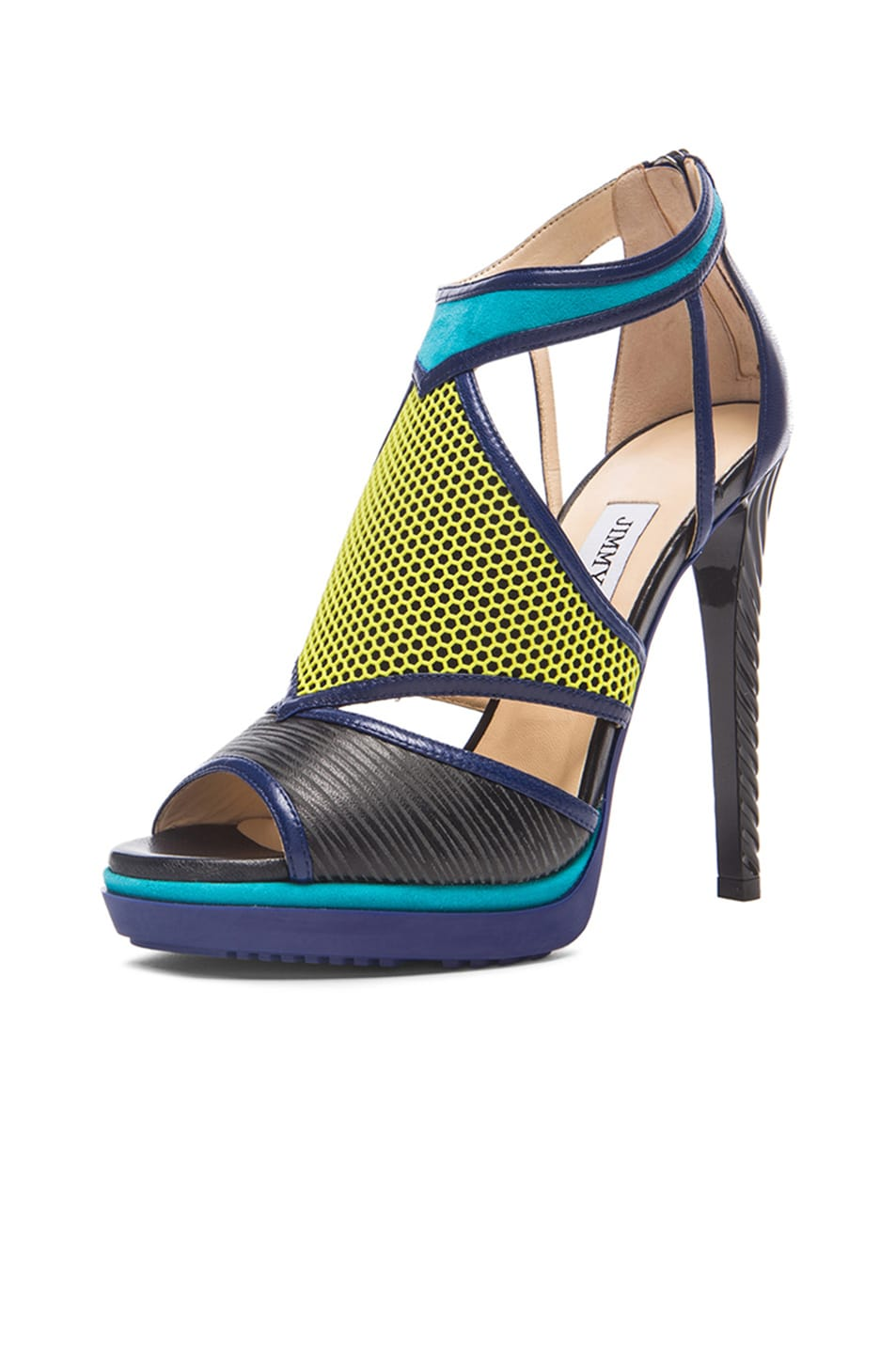 Image 2 of Jimmy Choo Lythe Leather Heels in Acid Yellow, Black & Turquoise