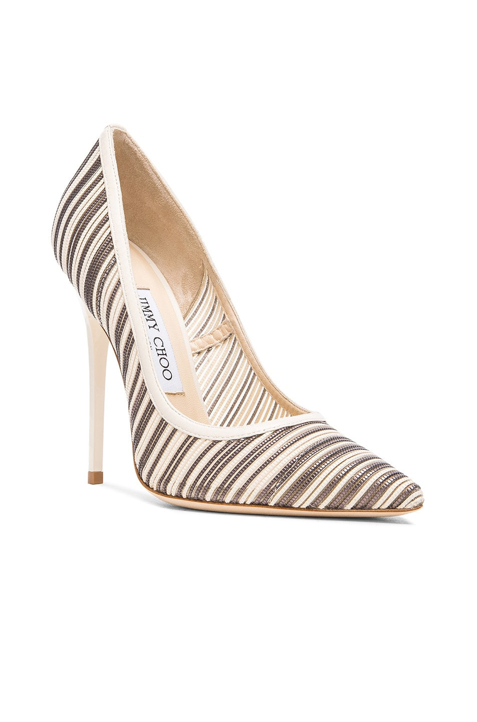 Image 2 of Jimmy Choo Metallic Anouk Mesh Pumps in Off White Mix
