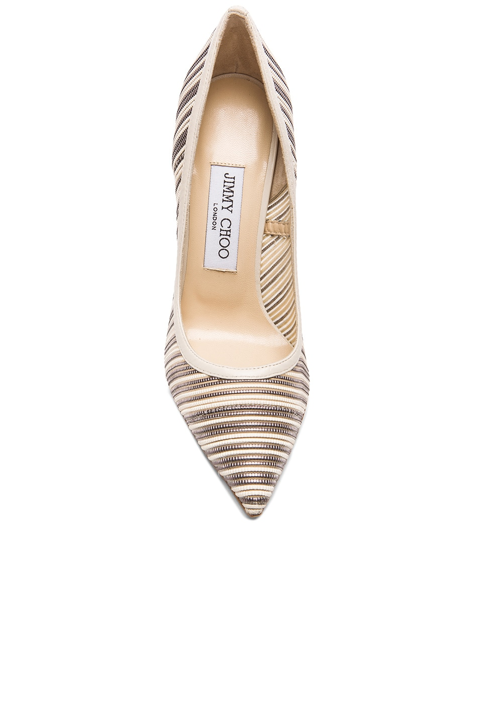 Image 4 of Jimmy Choo Metallic Anouk Mesh Pumps in Off White Mix