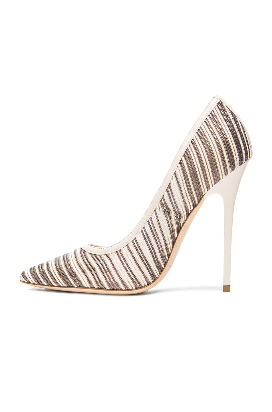 Image 5 of Jimmy Choo Metallic Anouk Mesh Pumps in Off White Mix