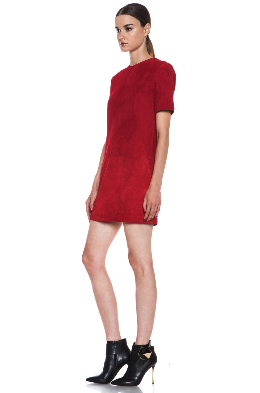 Image 2 of Jenni Kayne Suede Shirt Dress in Scarlet