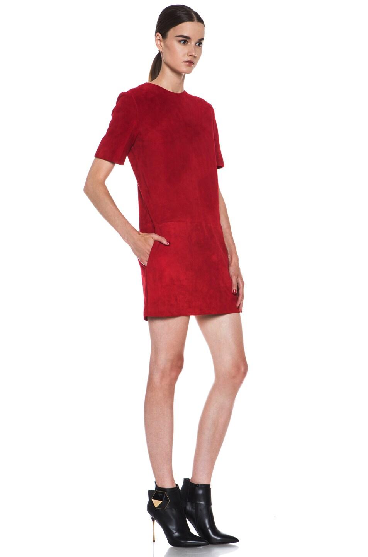 Image 3 of Jenni Kayne Suede Shirt Dress in Scarlet