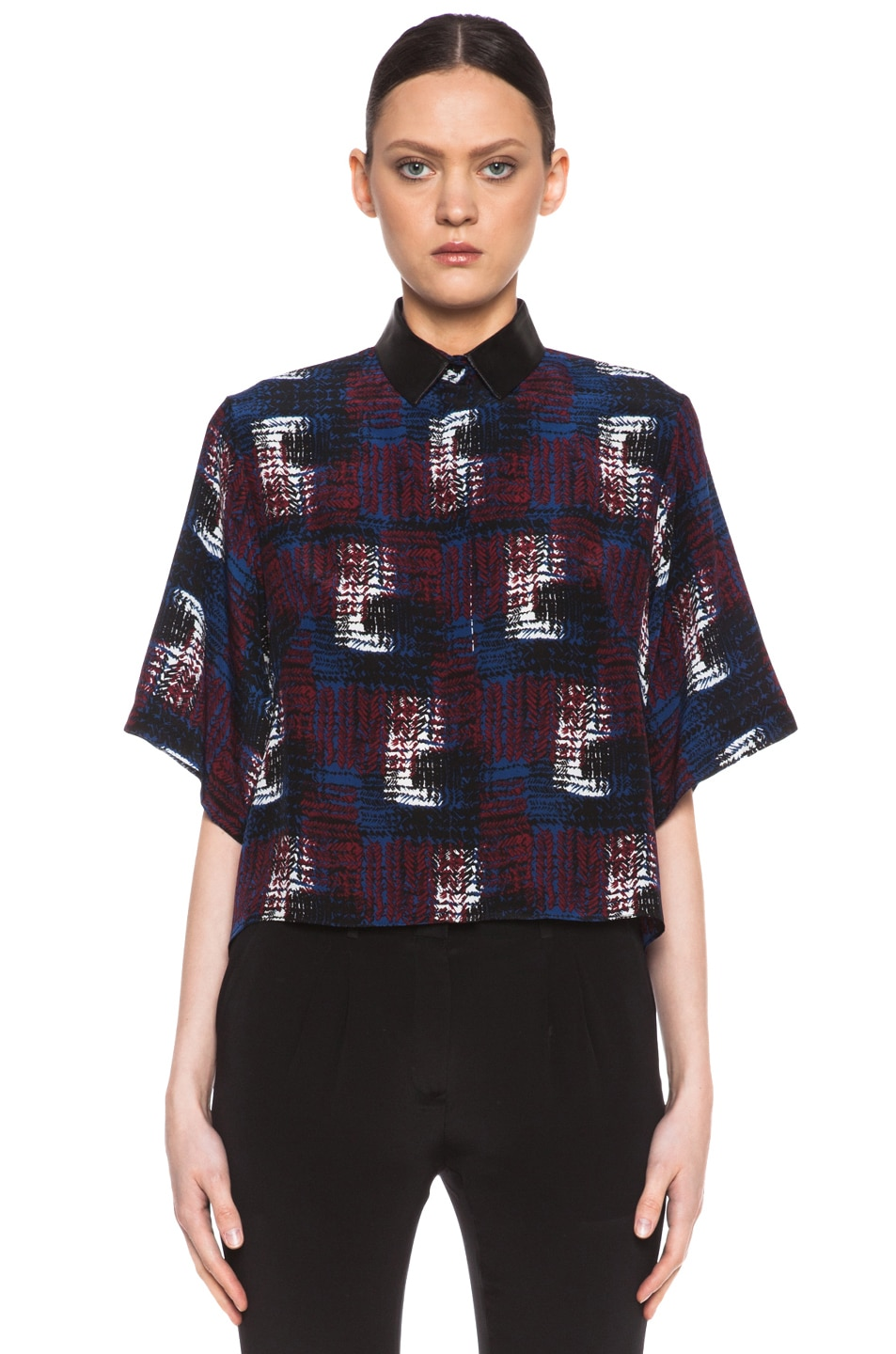 Image 1 of Jenni Kayne Box Crop Silk Top in Black & Blue