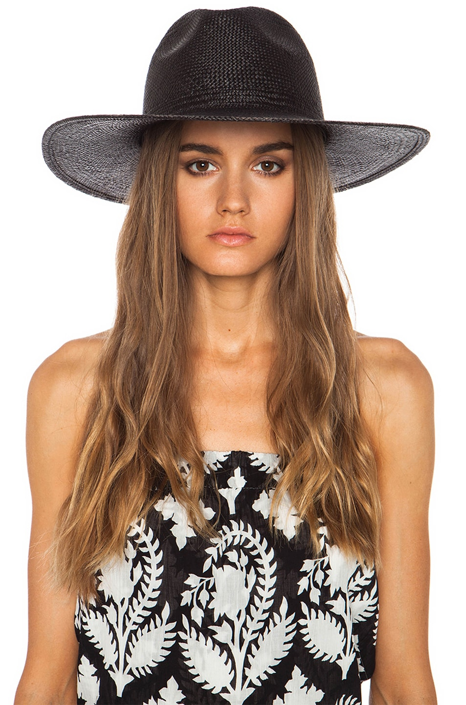 Image 2 of Janessa Leone Rita Straw Hat in Black