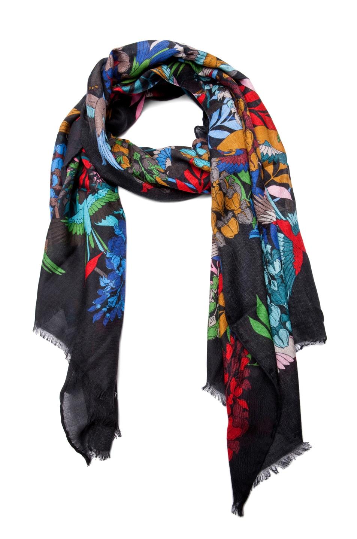 Image 1 of Jonathan Saunders Bird Cashmere/Silk Scarf in Multi Black
