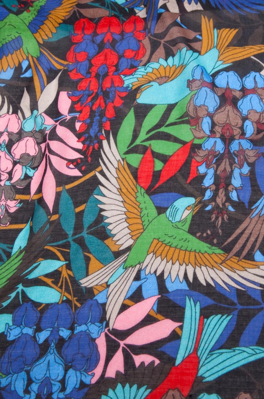 Image 2 of Jonathan Saunders Bird Cashmere/Silk Scarf in Multi Black