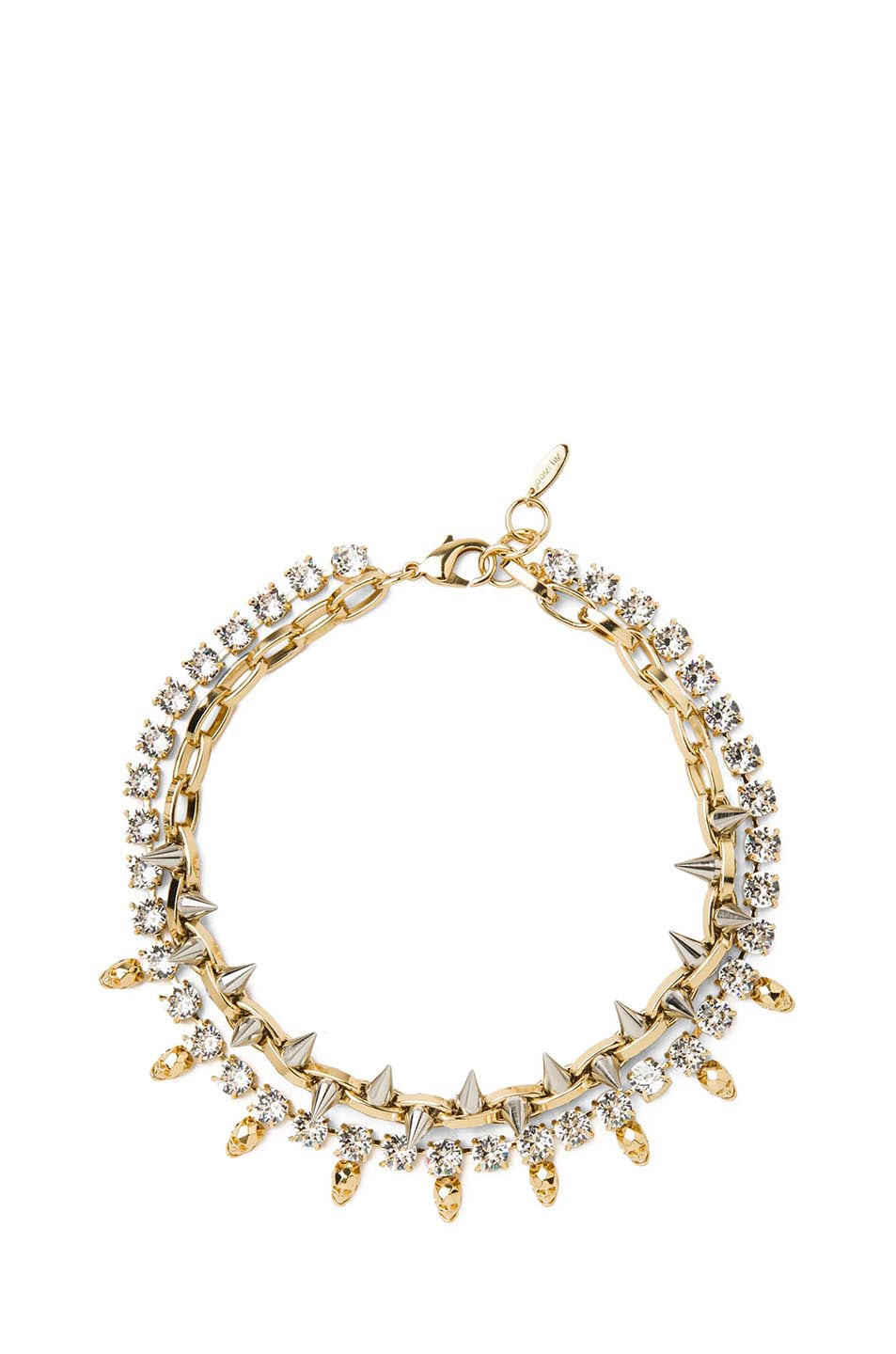 Image 1 of JOOMI LIM Crystal, Skull & Spike Brass Necklace in Gold & Silver