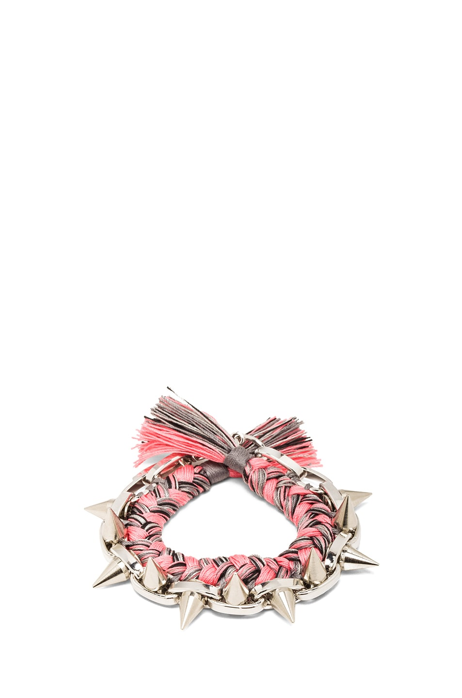 Image 1 of JOOMI LIM Spike & Braided Cotton Bracelet in Pink