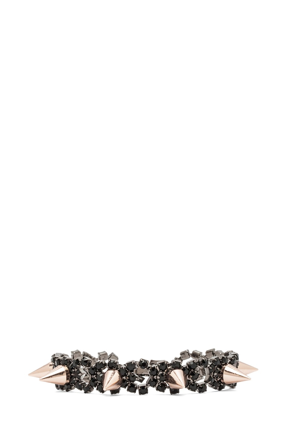 Image 1 of JOOMI LIM Crystal and Spike Bracelet in Jet & Rose Gold