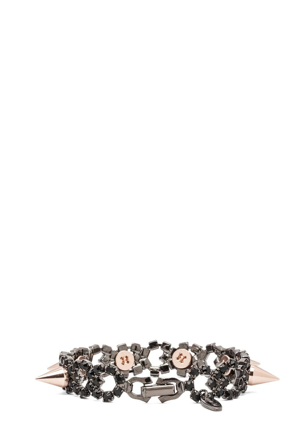 Image 3 of JOOMI LIM Crystal and Spike Bracelet in Jet & Rose Gold