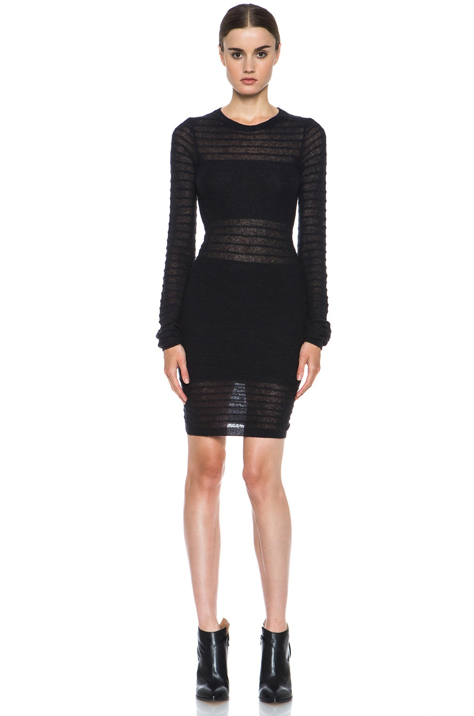 Image 1 of Joseph Bianca Micro Stripe Wool-Blend Dress in Black
