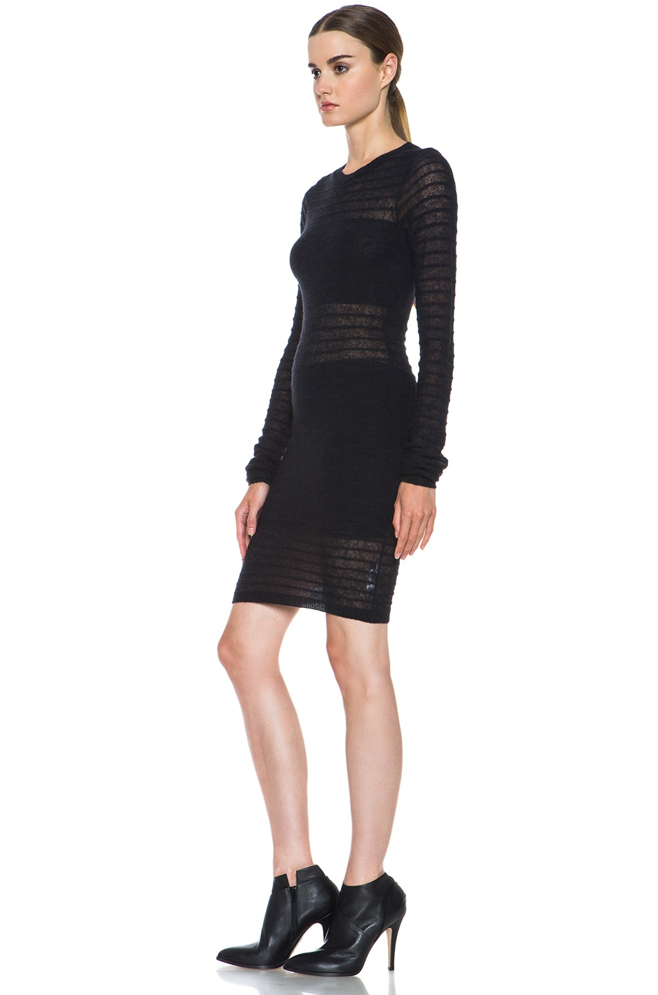 Image 2 of Joseph Bianca Micro Stripe Wool-Blend Dress in Black