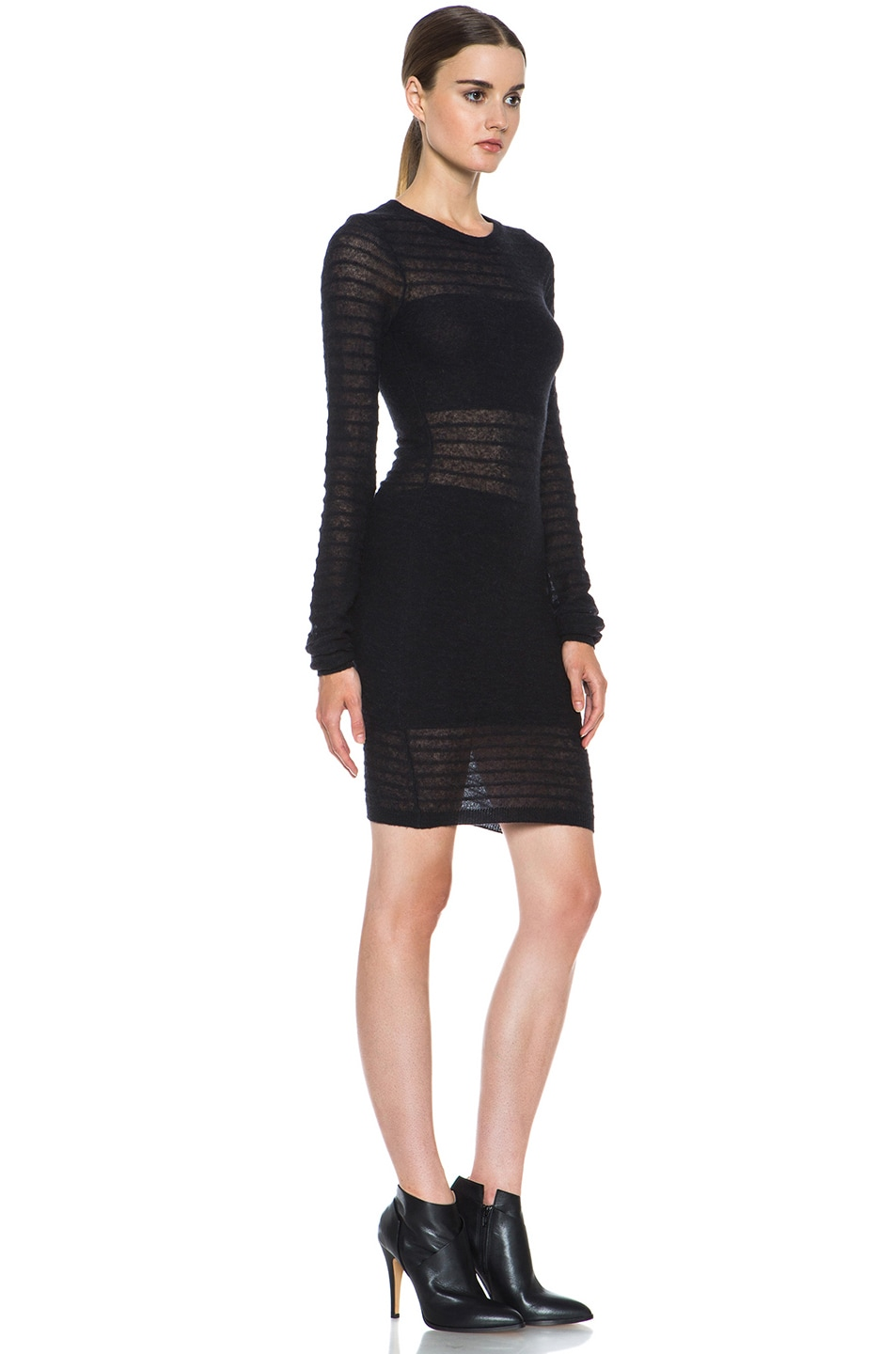 Image 3 of Joseph Bianca Micro Stripe Wool-Blend Dress in Black