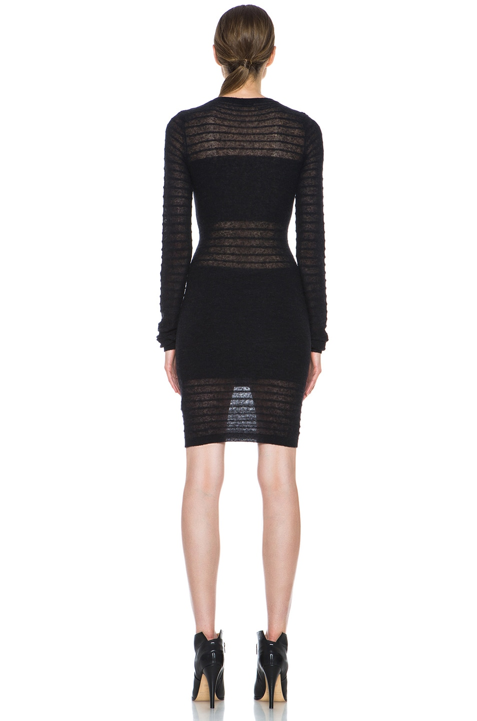 Image 4 of Joseph Bianca Micro Stripe Wool-Blend Dress in Black