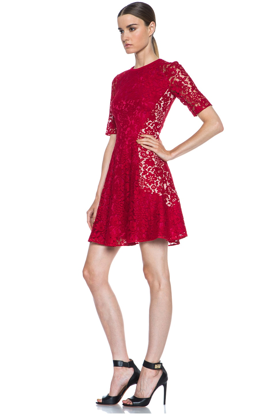Image 2 of Joseph Agnes Lace Dress in Red & Nude