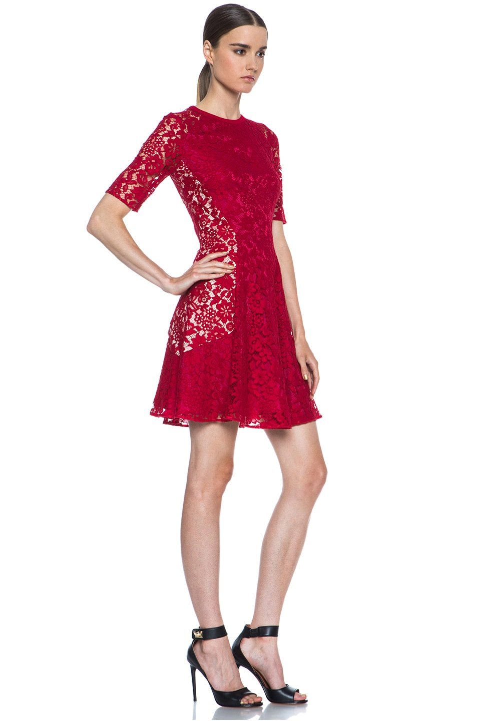 Image 3 of Joseph Agnes Lace Dress in Red & Nude
