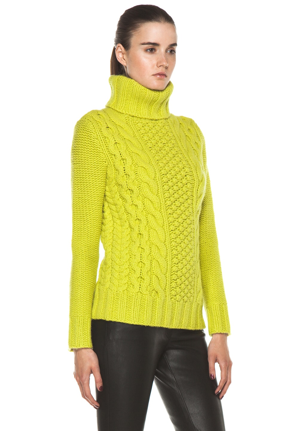 Image 3 of Joseph Cable Sweater in Lime