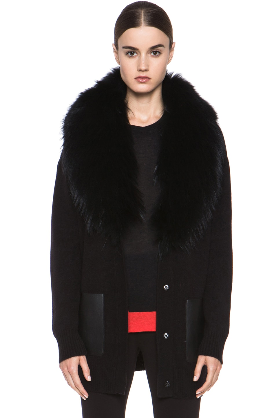 Image 1 of Joseph Boyfriend Cashmere Cardigan with Fur in Black