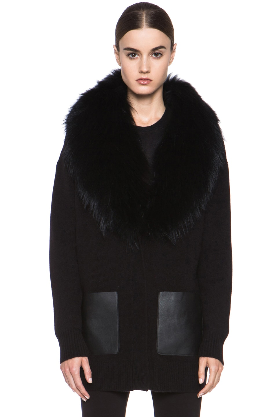 Image 2 of Joseph Boyfriend Cashmere Cardigan with Fur in Black