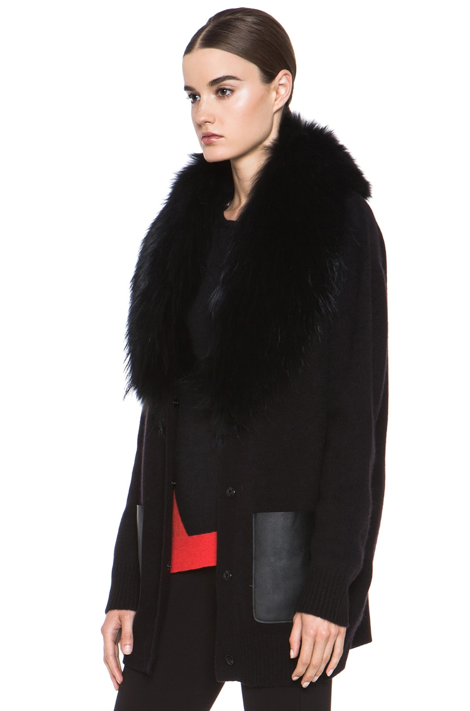 Image 3 of Joseph Boyfriend Cashmere Cardigan with Fur in Black